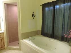 Jacuzzi bath tub with walk in showers and double sinks
