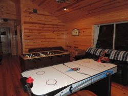 Foosball  Air-Hockey Table in the Loft with 26 inch TV