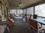 Large Screened in Porch over looking the Coosawattee River. Porch Swing, Table & Chairs