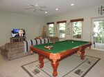 Hugh Open Game Room with Pool Table & Sectional Couch.