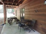 The Lower Deck has a Picnic Table with Small Table & Chairs