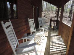 The back deck is accessed by double doors from the dining room with rockers and overlooks a private back yard.