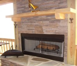 Wood Burning Fire Place on upper Back Deck