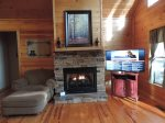 Oversize Chair with Ottoman, Gas Fire Place 50 in Flat Screen TV