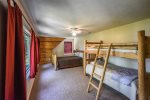 Second Upstairs Bedroom with Queen Bed and Twin Bunkbed