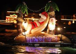 Famous Christmas Boat Parade turns in Front. We are on the Turning Basin