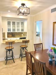 CASA 227 DINING AREA TO KITCHEN NEW STOOLS LIGHTING