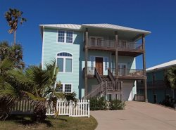 A beachfront vacation home rental in Port Aransas with million dollar views of the ocean.
