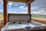 Fabulous Spanish Peaks mountain range views from private outdoor hot tub.