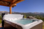View of private hot tub with Spanish Peaks mountain range in the background