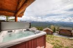 Private outdoor hot tub with spectacular mountain views