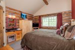 Stay in bed and enjoy amazing Lone Peak Views from this fabulous Cowboy Heaven Cabin.