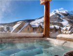 Private outdoor hot tub with fabulous views of Lone Peak & ski slopes.