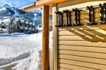 Step our front door to private ski racks, views of Lone Peak, Lodge, and slope.