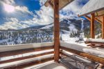 Deck with direct views of Lone Peak, Iron Horse and Pony Express lifts,gas grill