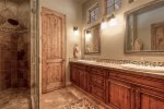 Private Master Suite 1 Bathroom with heated floor and large walk-in shower.