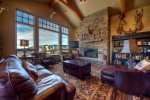Large 2 story great room with wood-burning fireplace and breathtaking views