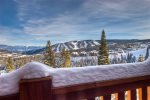 Fabulous view from deck of ski slopes, Big Sky Valley, and the sunrise