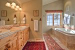 Large Master Bath with heated floors, jetted tub, separate shower, double vanity