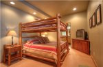 Bedroom Suite 3 with Double Over Queen Log Bunk Bed with Private Bath & TV.