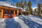 Groomed ski trail directly in front of cabin takes you to Big Sky or Moonlight