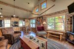 Luxury with a Montana rustic feel. Wood floors, log cabin, cozy fireplace and amazing privacy.