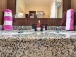 Master bathroom with amenities.