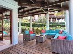 The patio offers a lot of room for reading, play or just relax on the loungers.