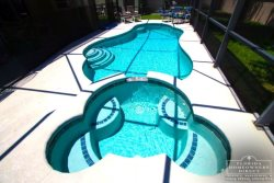 Enjoy the Florida Sun while sipping a cool lemonade in this crystal clear pool.