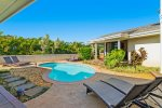 Granite work space with new, full size, front loading washer and dryer