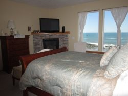 Ocean Dream - Master suite with Ocean View gas fireplace- Large TV