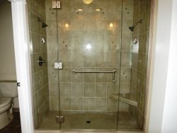 Penthouse Suite- Master bath with glass walk in shower