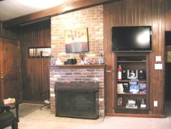 Oceanfront Oasis - Main Level - Living Room Fireplace, TV