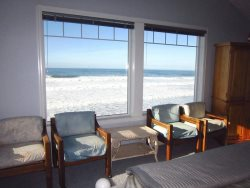 Sea Escape - Upper Floor - Bedroom 5 with King bed, ocean view, cabinet with TV