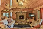 Main level Den with Wood Burning Fireplace for Fall and Winter Enjoyment