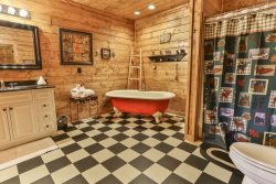 Lower Level Bath with Clawfoot Tub and Separate Shower