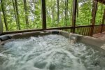 Soak in the hot tub on the bottom deck.
