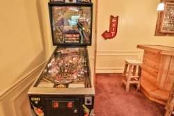 Relax in the game room with a pinball machine