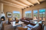 Living room with amazing views and gas kiva fireplace