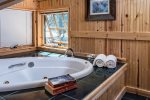 Jetted soak tub in the upper bath