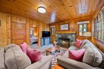 Knotty Pine cabin recently remodeled inside to give you the old time cabin in the woods feel but with a more modern twist!