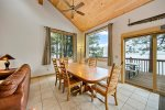 Large dining room opens up to seat your large family.  Also has nice views of Wallowa Lake.