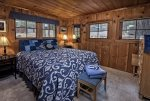 Comfy queen sized bed at the Backcountry Bungalow.