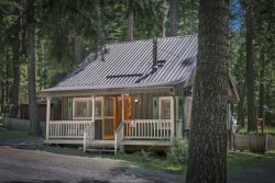 Cute knotty pine cabin located at the resort side of Wallowa Lake.