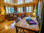 Knotty pine interior throughout this cabin called the Ram`s Head