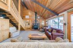 Blue pine paneling throughout this home gives it a beautiful warm feeling.