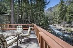 The Wallowa River flows right by this cabin.  Slow down and sit and just relax from the large deck.