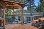 Time Out on Wallowa Lake has a private boat dock on Wallowa Lake and a gazebo with a seasonal propane firepit for your enjoyment.