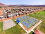 Pickleball courts and sand volleyball with walking trail to Gubler Park