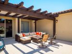 Balcony seating ares to relax with pergola shade